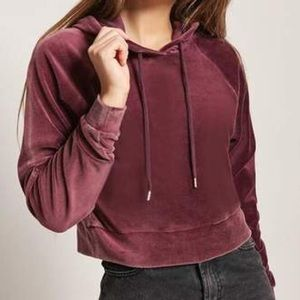 Forever 21 Cropped Velour Drawstring Hoodie L